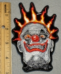 1631 N - Scary Clown Face With Fire Crown - Embroidery Patch