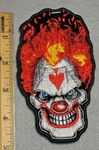 1720 N - Evil Clown Face With Upside Down Spade On Forehead - Embroidery Patch