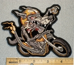 1706 G - Wild Wolf On Bike - Embroidery Patch