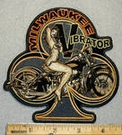 1721 G - Milwaukee Vibrator With Girl On Bike - Embroidery Patch
