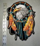 1746 G - Dream Catcher With Eagle Face - Large Patch - Embroidery Patch