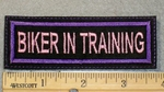 1898 L - Biker In Training - Purple Border - Embroidery Patch