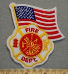 1242 R - Fire Dept Cross with American Flag - Embroidery Patch