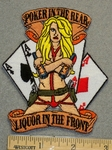 1288 N - Poker In The Rear Liquor In the Front - Girl with Guns and Cards - Embroidery Patch