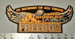 1731 G - In Memory Of All Those Who Died Defending Our Freedom - Large Patch - Embroidery Patch