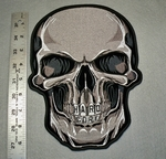 1743 G - Large Skull Face With Hard Core In Teeth - Large Patch - Embroidery Patch