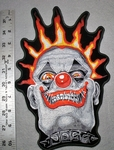 1747 G - DISCONTINUED Evil Clown Face WIth Crown Of Fire - Large PAtch - Embroidery Patch