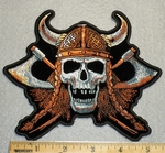 1716 G - Viking Hat On Skullface With Two Axe - Embroidery Patch