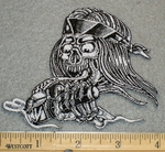 1222 N - Skull Face With Bandana and Handlebars - Embroidery Patch