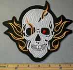 1890 B One Red Eyed Skull Face With Flames - Embroidery Patch