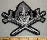 1711 N - Skullface With Two Crossed Swords - Embroidery Patch