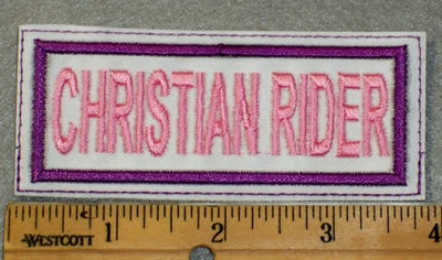 1894 L - Christian Rider - White Background - Purple Border - Embroidery Patch
