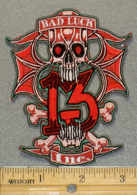 2151 N - Bad Luck 13 Inc. - With Skull Face And Cross Bones - Embroidery Patch