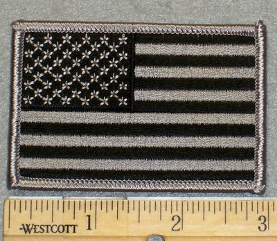 2164 G - Black And Gray American Flag - Embroidery Patch