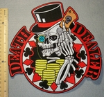 2177 N - Death Dealer Skull Face WIth Top Hat - Back Patch - Embroidery Patch