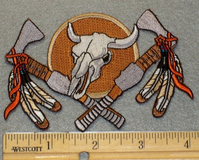 2167 N - Desert Skull With Axe and Feathers - Embroidery Patch
