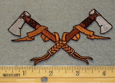 2170 N - Double Indian Style Axe - Embroidery Patch