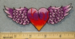 2124 N - Flame Engulfed Heart With Wings - Pink and Purple - Embroidery Patch