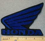 2178 L - Honda Wing Logo - Blue 5 Inch - Embroidery Patch