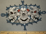 2176 N - 3 Skull Face with Red Eyes in Barbed Wire- Back Patch - Embroidery Patch