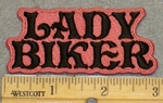 2121 N - Lady Biker -Pink Background - Embroidery patch
