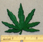 2147 N - Green Marijuana Pot Leaf - Embroidery Patch