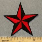 2168 N - Red And Black Star - Embroidery Patch