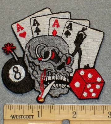 2125 N - 4 Aces With Pot Smoking Skull Face - Dice And 8 Ball - Embroidery Patch