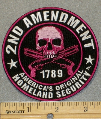 2123 G - Round 2 Amendment -Skull And Two Guns - Pink- Embroidery Patch