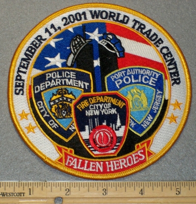 2174 R - Fallen Heroes September 11,2001 World Trade Center - Round - Embroidery Patch