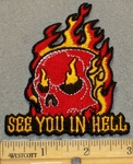 2143 N - See You In Hell With Flaming Skull - Embroidery Patch