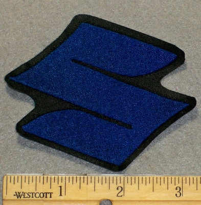 "2134 L - Suzuki Symbol  ""S"" - Blue - 3 Inch - Embroidery Patch"