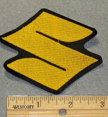 "2132 L - Suzuki Symbol ""S"" - Yellow - 3 Inch - Embroidery Patch"