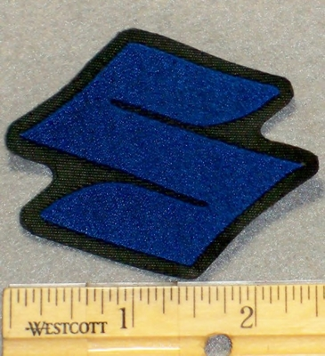 "2128 L - Suzuki Symbol ""S"" - Blue - Mini Version - Embroidery Patch"