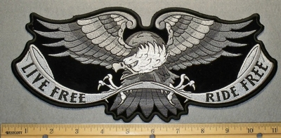 2185 G - Spread Wing Eagle - Gray White And Black - Live Free Ride Free - Back Patch