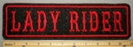 2191 L - Lady Rider Metallic Background - Red - 11 Inch Straight - Embroidery Patch