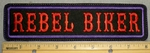 2206 L - Rebel Biker - Red Lettering - Purple Border - 8 Inch Straight - Embroidery Patch