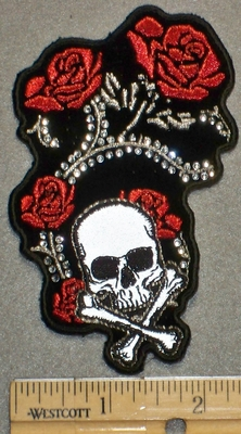2208 G - Rhinestone Bling Bling - Roses With Skull Face And Crossbones  - Embroidery Patch