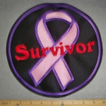 2209 L - Pink Breast Cancer Ribbon - Purple Border - With Survivor - Red Lettering - Round Back Patch - Embroidery Patch