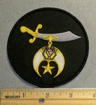 212 W - Round Black Shriner Patch - Embroidery Patch