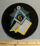 2213 W - Round Mason Patch With Bible - Embroidery Patch