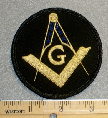 2214 W - Round Mason Patch With Ruler - 3 Inch -  Embroidery Patch