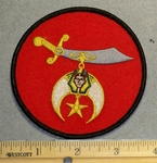 2217 W - Round Shriner Patch - Red -  Embroidery Patch