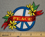 1317 N - Round Peace Sign With Yellow Flowers - Embroidery Patch