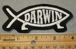 1448 L - Darwin Fish Patch - White Lettering - Embroidery Patch