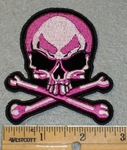 2025 G - Half Skull Face With Cross Bones - Pink - Embroidery Patch