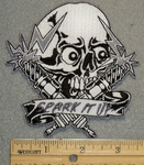 1346 N - Spark It Up - Skull Head With Sparkplugs - Embroidery Patch