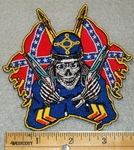 1429 N -  Confederate / Rebel Flags With Rebel Skullman in Uniform - Embroidery Patch