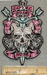 1319 N - Pink Banner Loyal To None -  Skull Head -  With Arrows Thru Eyes - Sword Thru Head - Embroidery Patch