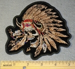 1793 G - Indian Skull Face With Feather Headband - Embroidery Patch